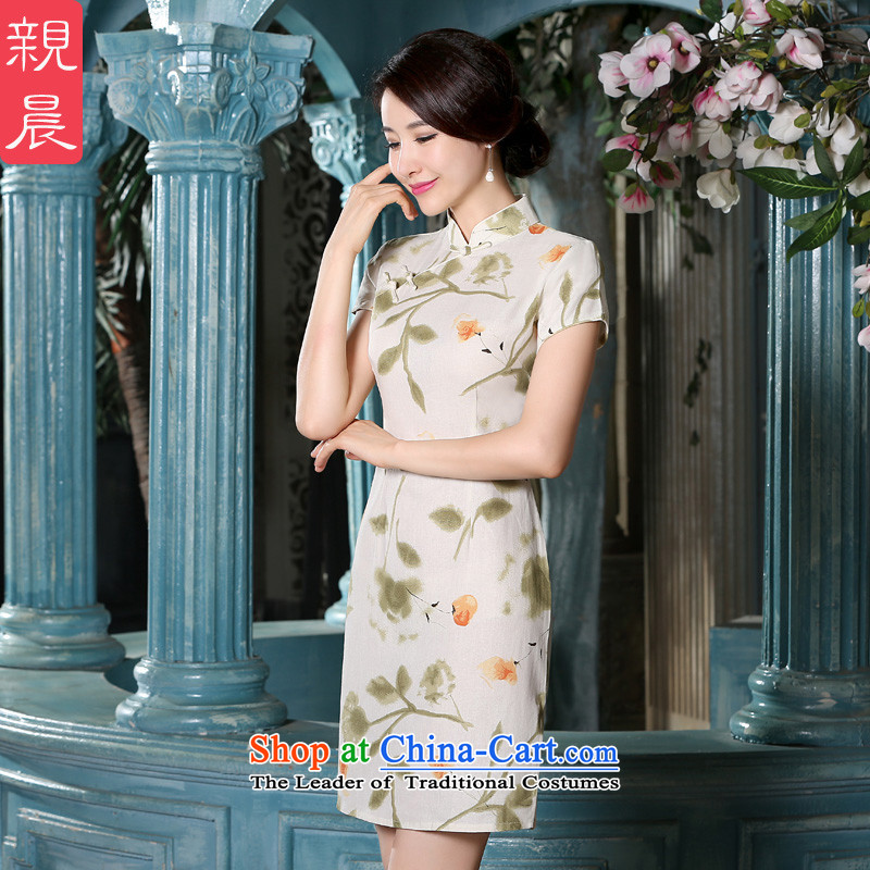 The pro-am new cotton linen cheongsam dress short of 2015 Summer retro style qipao daily Ms. improved dresses short,燣