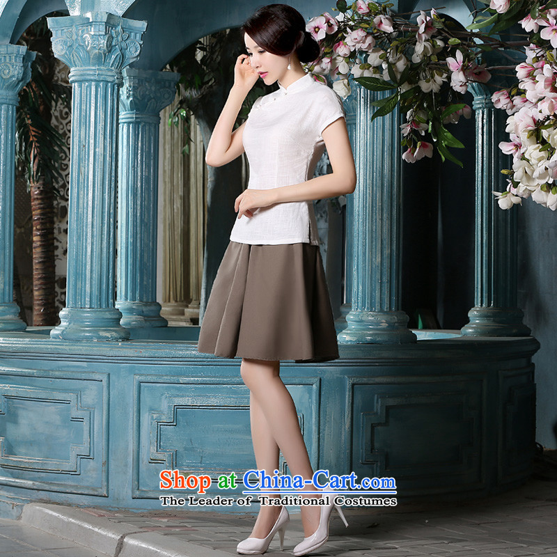 The pro-am a new summer, cotton linen changed daily stylish ethnic Han-liang linen short-sleeved T-shirt qipao traditional female shirt + khaki short skirts M-seven days of