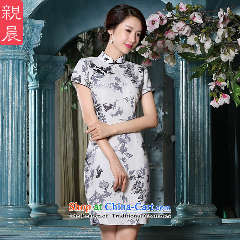The pro-am new cotton linen cheongsam dress short, 2015 Ms. summer daily short of stylish improved cheongsam dress short,?2XL