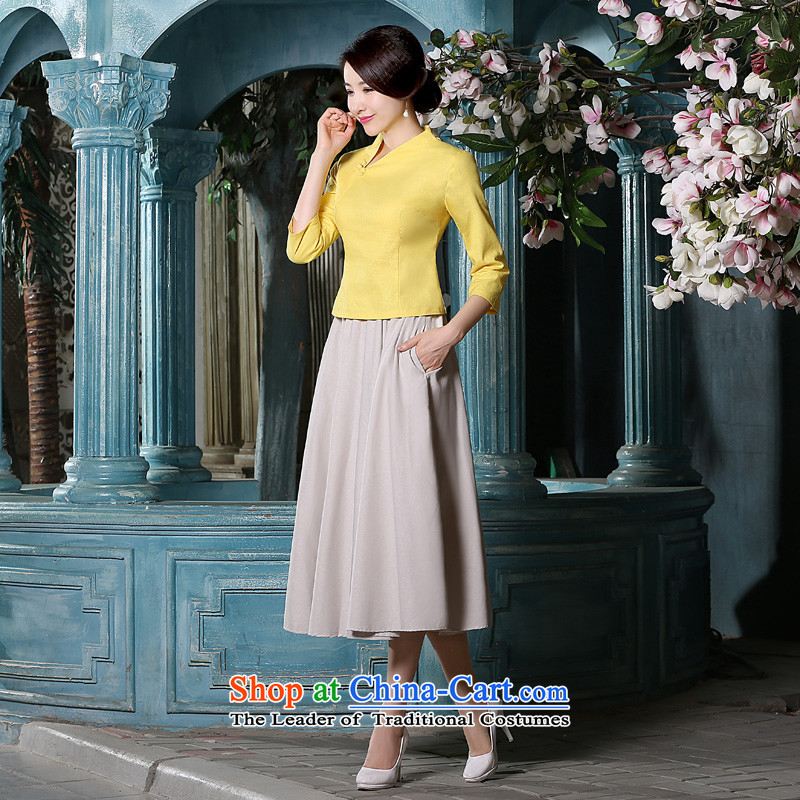 The pro-am 2015 Fall/Winter Collections new cotton linen flax daily IMPROVEMENT OF ETHNIC CHINESE CHEONGSAM T-shirt, beige long sleeved shirt + skirt?XL