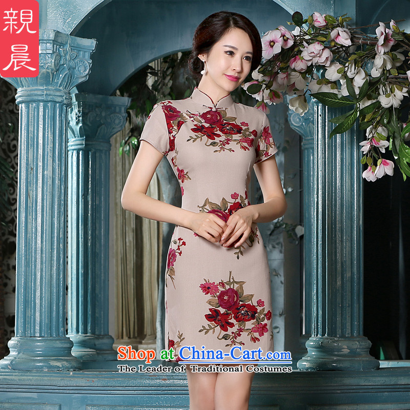 The pro-am new cheongsam dress short summer 2015) Ms. Stylish retro daily improved cotton linen cheongsam dress short, L