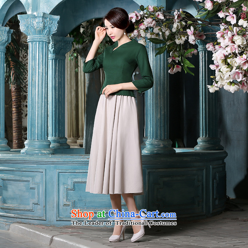 The pro-am improved daily cotton linen flax qipao Tang blouses female new 2015 Fall/Winter Collections in the Cuff ethnic shirt + beige long skirt?M