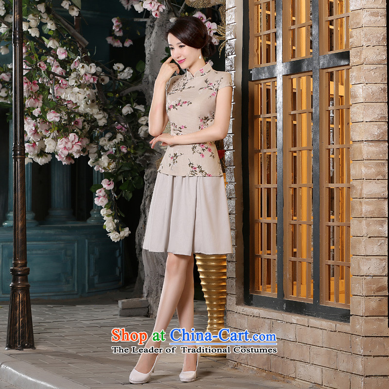 The new 2015 pro-am summer short-sleeved daily improvement of traditional antique Tang dynasty China wind cotton linen dresses shirt blouses + beige short skirt L