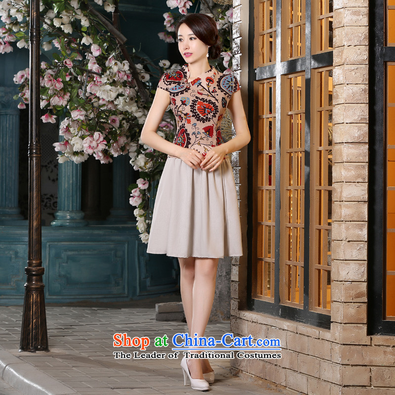 The pro-am daily improved arts cotton linen flax female short-sleeved traditional Chinese cheongsam dress wind kit skirt shirt blouses + beige short skirts燤