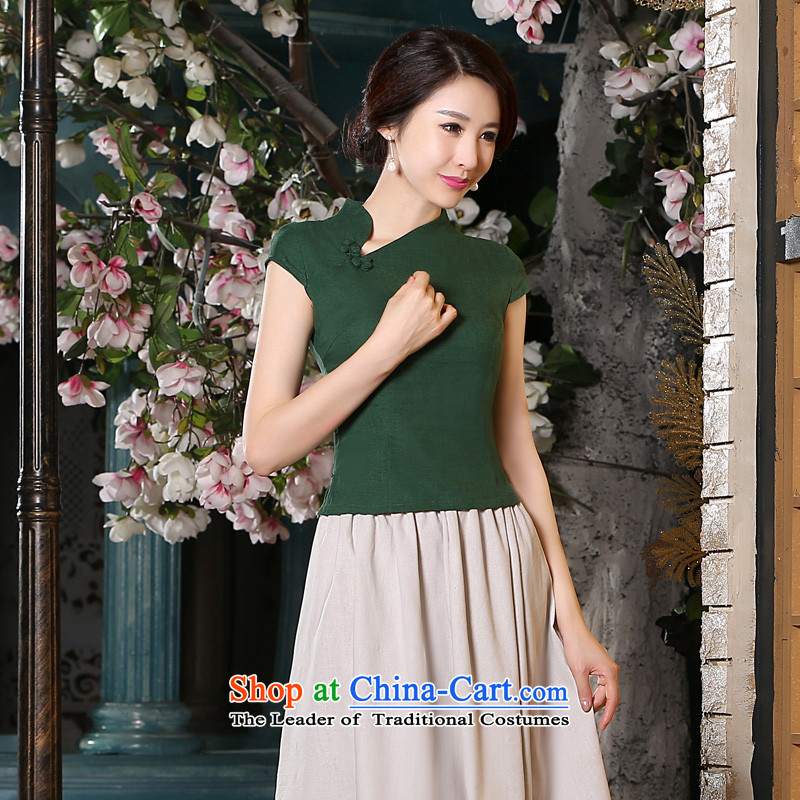 At 2015 new pro-summer cotton linen dresses Stylish retro short-sleeved cheongsam dress Sau San Kit skirt dresses girl燬 T-Shirt