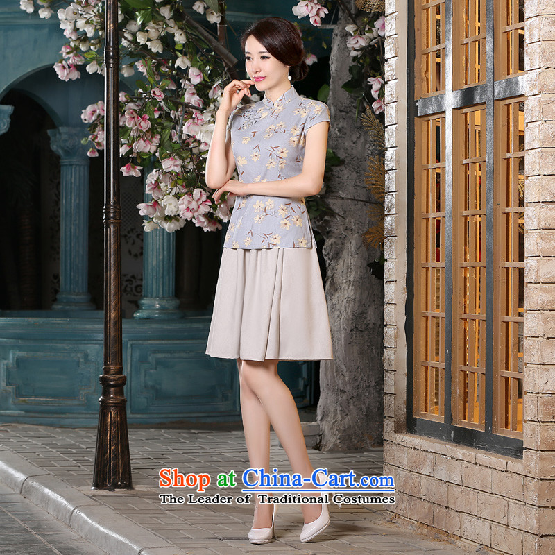 The pro-am cotton linen 2015 new dulls improved retro shirt qipao Sau San dresses summer short-sleeved T-shirt + beige cheongsam dress short skirt燲L