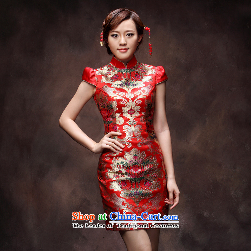 Eason Chan point marriages of qipao short 2015 Fall_Winter Collections red stylish upmarket Chinese style wedding dresses evening drink service deep red燲XL payment issued about a week after