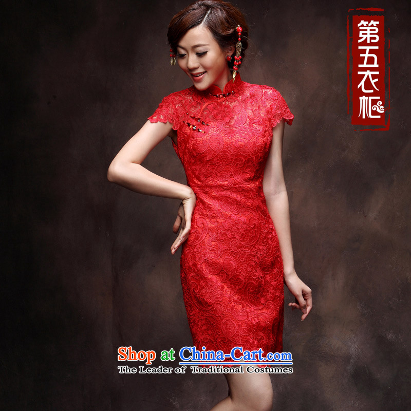 Eason Chan point lace retro short, bows to marry Sau San red 2015 new autumn and winter Chinese cheongsam dress red stylish bride燲L payment issued 5 Days