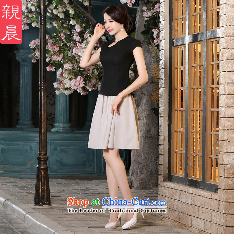 The pro-am?2015 Summer new cotton linen dresses daily improvement of traditional short-sleeved antique dresses kit blouses + beige short skirt?S