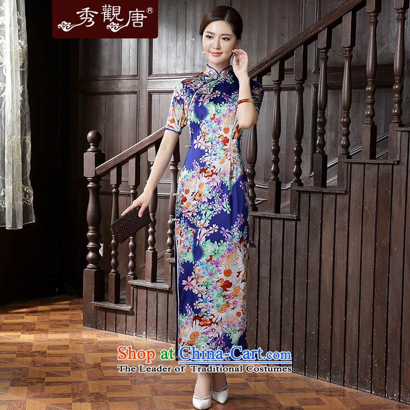 -Sau Kwun tong- the estimated 2015 Autumn new high-end Silk Cheongsam herbs extract long dress suit?L