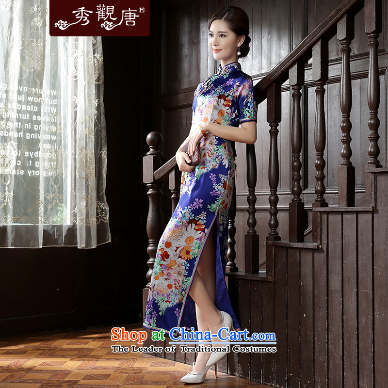 [Sau Kwun tong] the estimated 2015 Autumn new high-end Silk Cheongsam herbs extract long dress suit , L, Sau Kwun Tong shopping on the Internet has been pressed.