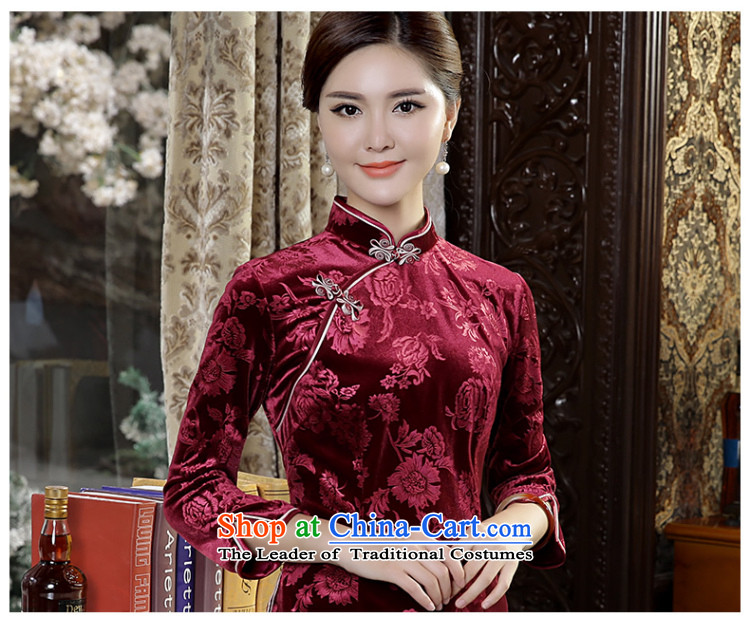 [Sau Kwun Tong Fu Yan Chau load] new scouring pads in 2015 Ms. Tang dynasty retro-sleeved shirt qipao wine red聽XL Photo, prices, brand platters! The elections are supplied in the national character of distribution, so action, buy now enjoy more preferential! As soon as possible.