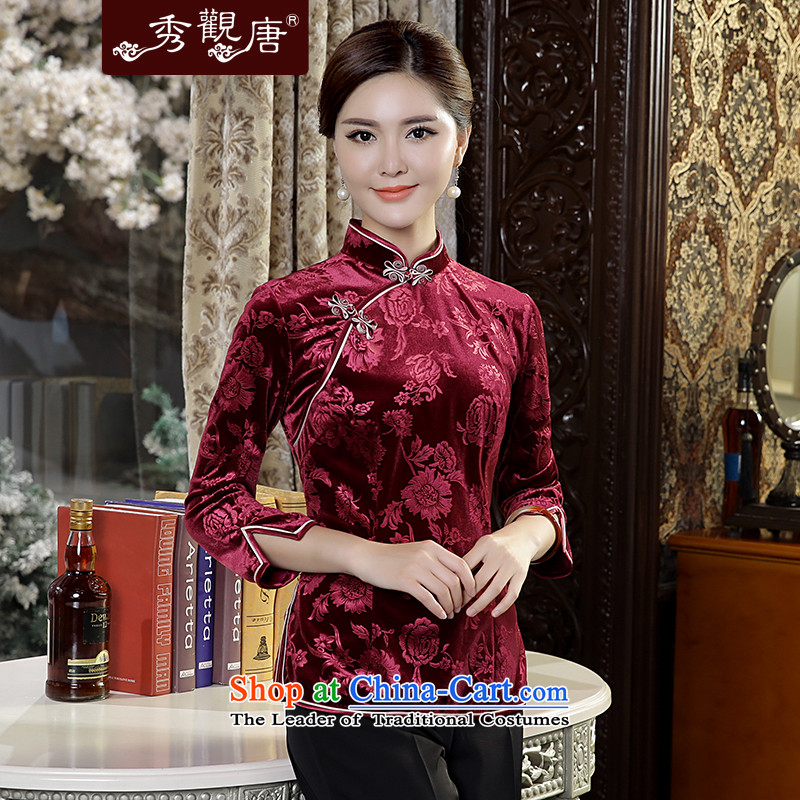 -Sau Kwun Tong Fu Yan Chau load- new scouring pads in 2015 Ms. Tang dynasty retro-sleeved shirt qipao wine red聽XL