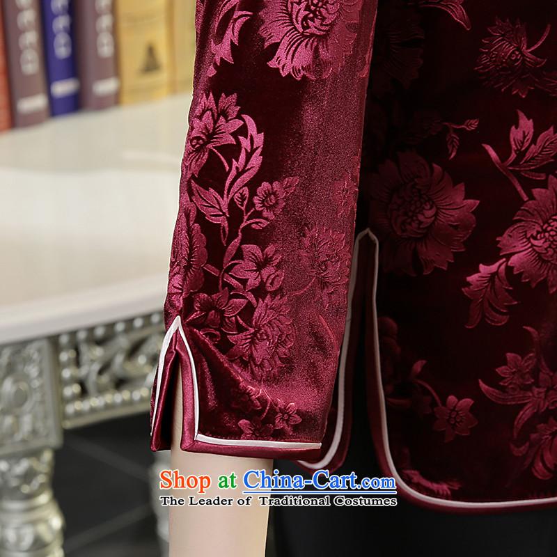 [Sau Kwun Tong Fu Yan Chau load] new scouring pads in 2015 Ms. Tang dynasty retro-sleeved shirt qipao wine red聽XL, Sau Kwun Tong shopping on the Internet has been pressed.