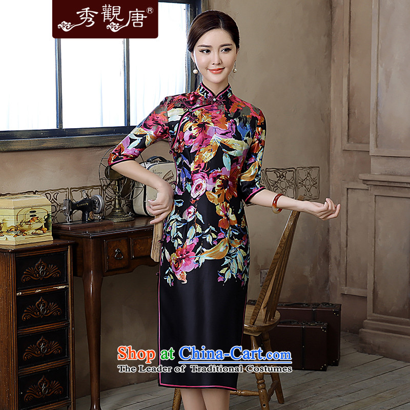 [Sau Kwun Tong] also fall 2015 Autumn replacing New Silk Cheongsam in cuff in the reconstructed long evening dress suit?XL