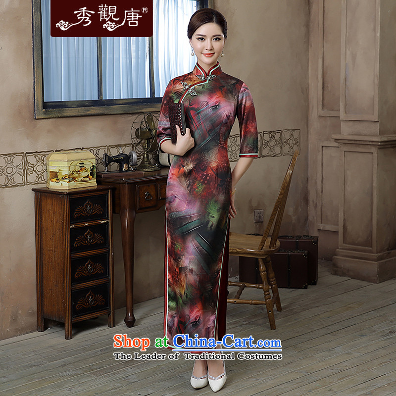 [Sau Kwun Tong] thousands of colors by 2015 Autumn new high-end Silk Cheongsam retro in long-sleeved Dress Suit?M