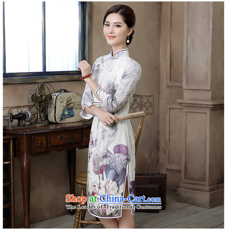 [Sau Kwun Tong] Chien autumn 2015 I should be grateful if you would have new long-sleeved QIPAO) light ink retro cheongsam dress suits wind XL Photo, prices, brand platters! The elections are supplied in the national character of distribution, so action, buy now enjoy more preferential! As soon as possible.