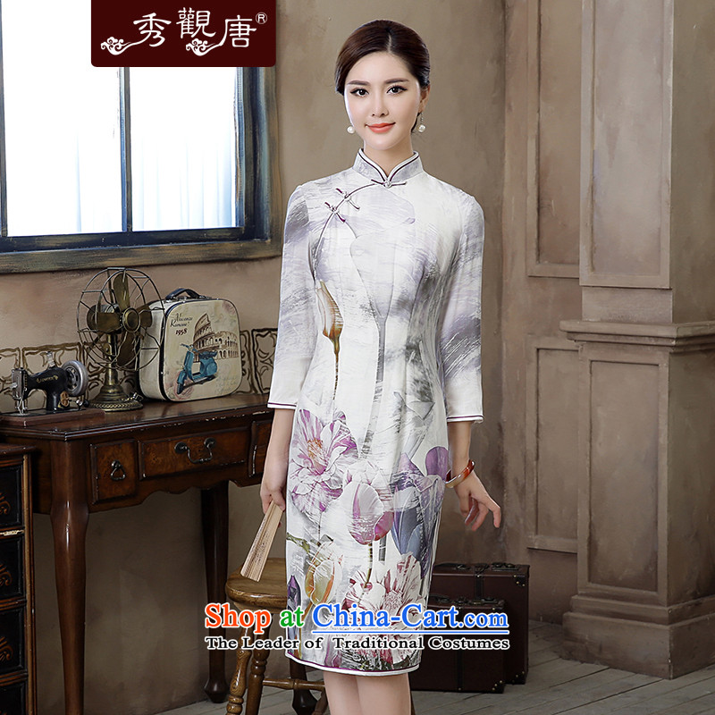 -Sau Kwun Tong- Chien autumn 2015 I should be grateful if you would have new long-sleeved QIPAO_ light ink retro cheongsam dress suits wind?XL