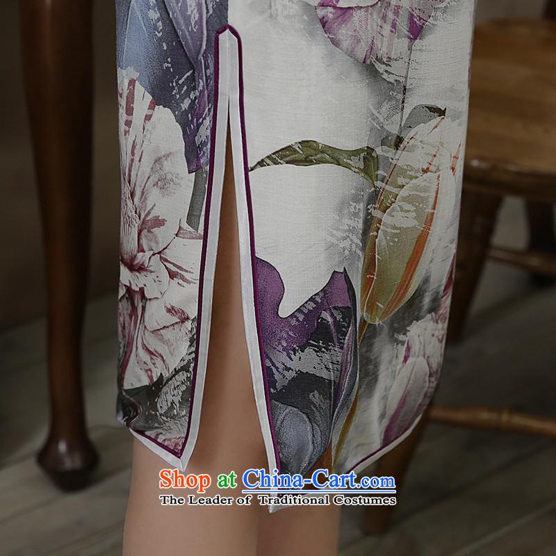 [Sau Kwun Tong] Chien autumn 2015 I should be grateful if you would have new long-sleeved QIPAO) light ink retro cheongsam dress suits wind XL, Sau Kwun Tong shopping on the Internet has been pressed.