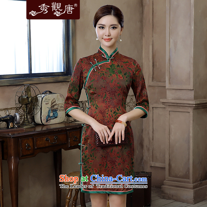 -Sau Kwun Tong- thousands of Ko Yo new high-end 2015 silk yarn retro stamp cloud of incense in cuff cheongsam dress suit燤