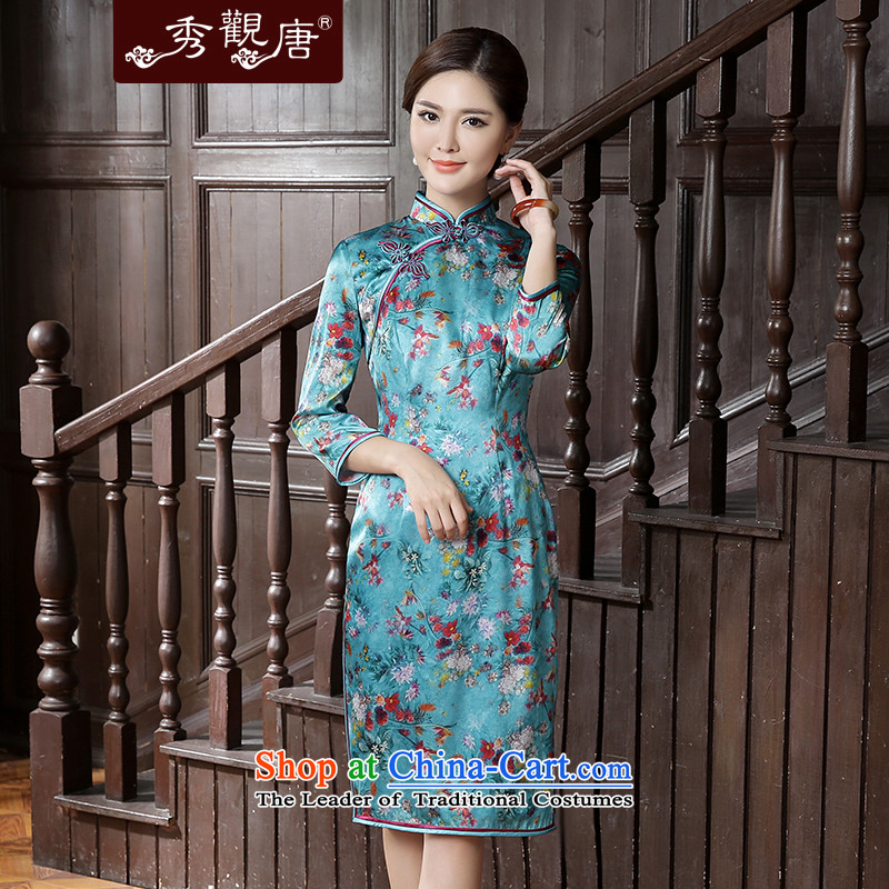 -Sau Kwun Tong- take princess fall 2015 replacing the new Silk Cheongsam. Long-sleeved fresh stamp qipao skirt suits燲XL