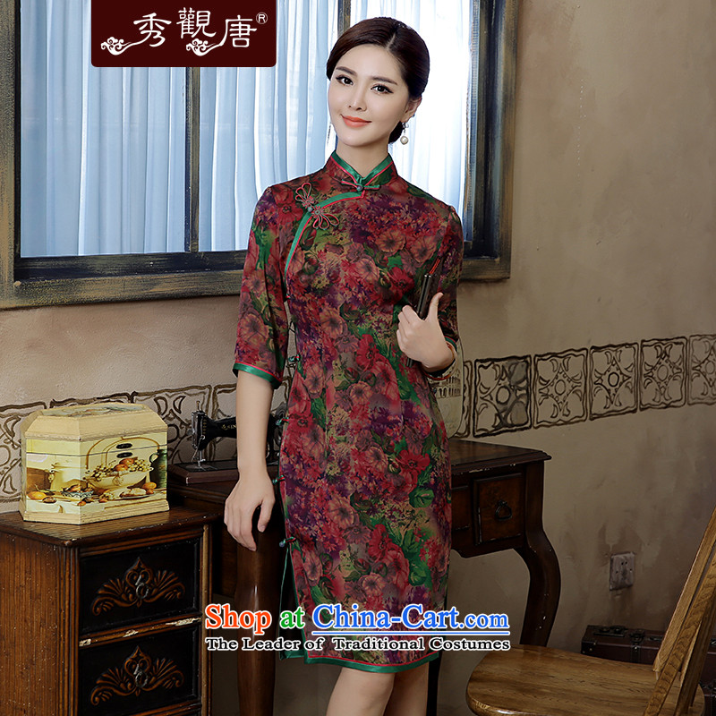 -Sau Kwun Tong- Che-heung 2015 Autumn new high-end silk yarn retro stamp cloud of incense cheongsam dress suit燣