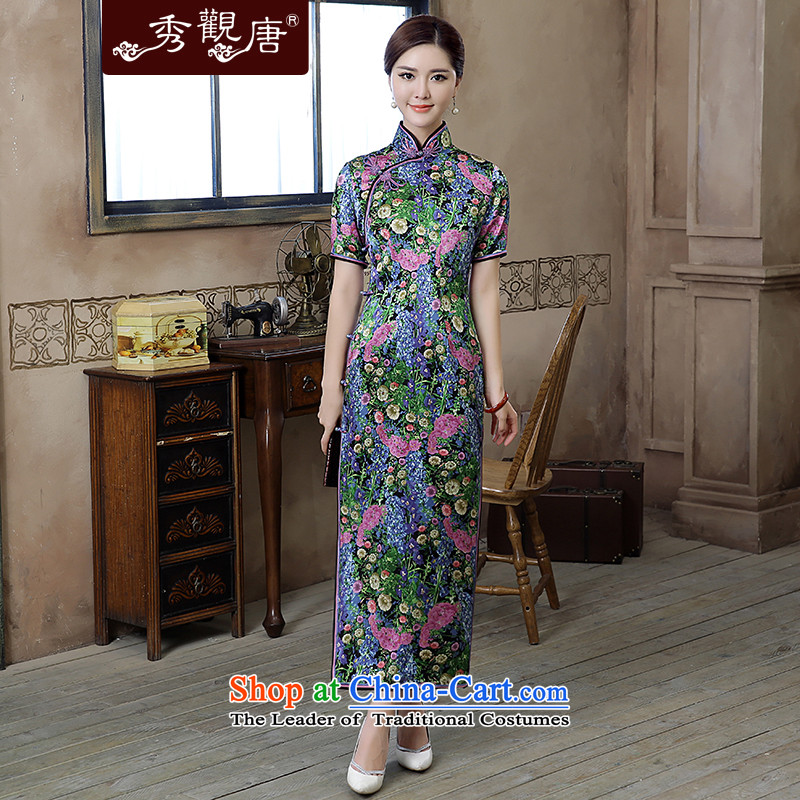 -Sau Kwun Tong- sexy women 2015 Autumn new high-end Silk Cheongsam high on the forklift truck long long dress suit聽L