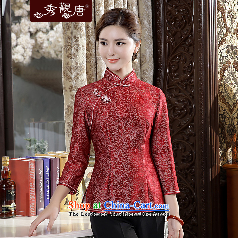-Sau Kwun Tong- Che-arts new_ Autumn 2015 Ms. Tang Dynasty Chinese improved lace qipao dark red T-shirt燲XL