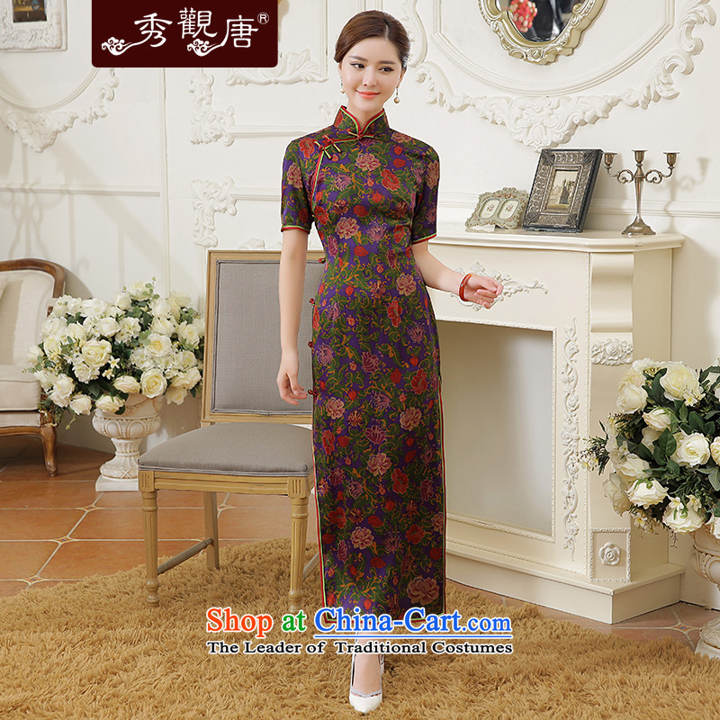 -Sau Kwun Tong- The 2015 Autumn Show new high-end antique silk cheongsam dress suit long herbs extract燲XXL Suit