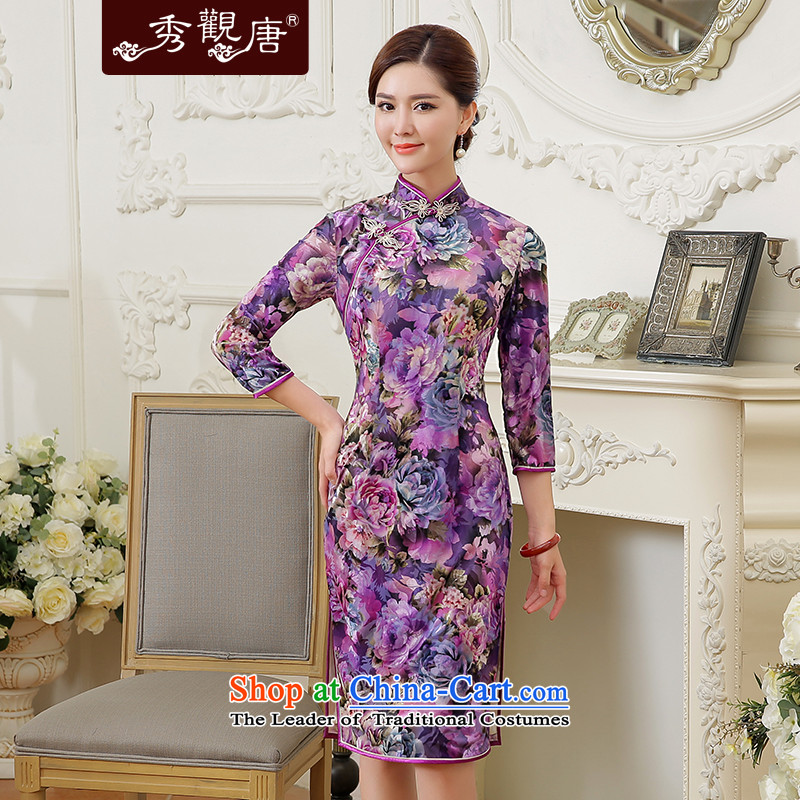 -Sau Kwun Tong- flowers fall 2015 King new long-sleeved_ scouring pads burned out retro cheongsam dress suit燤