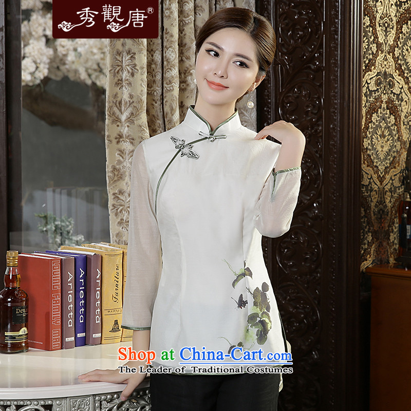 [Sau Kwun Tong] in the autumn of 2015, glistening New Tang blouses fresh stamp white?S