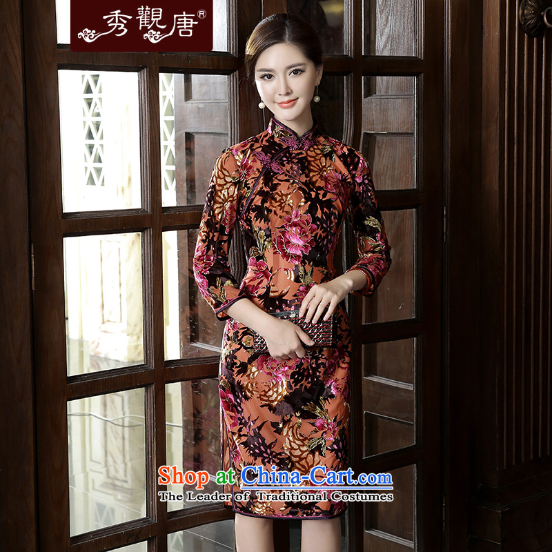 [Sau Kwun Tong] is included with new autumn 2015 Heung-loaded long-sleeved scouring pads in the reconstructed long qipao cheongsam dress suit�XXXL