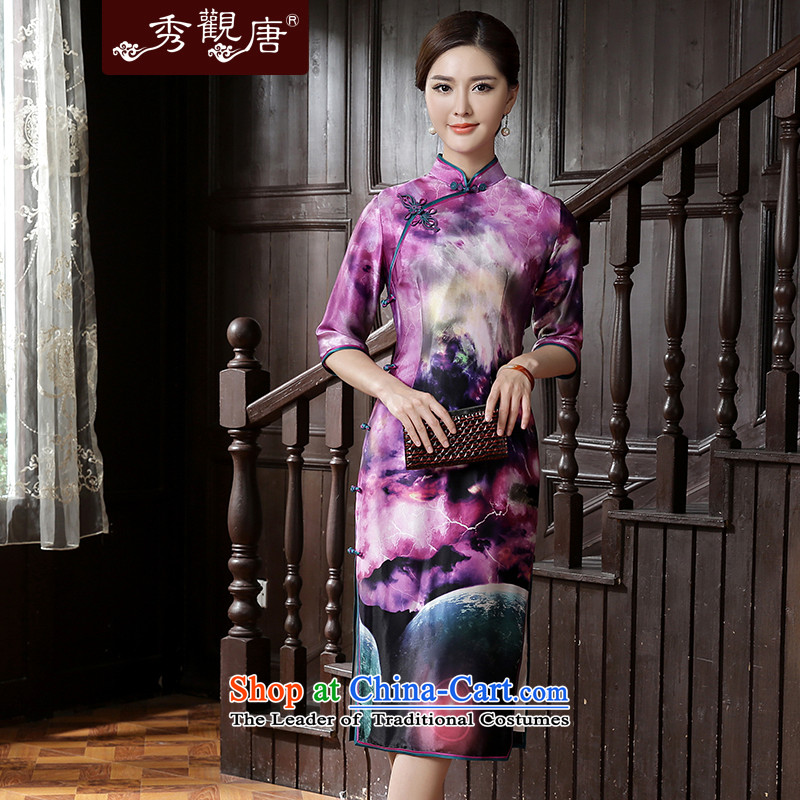 [Sau Kwun Tong] 2015 Autumn Tin Yuet new upscale, silk king of nostalgia for the ink in the wind, cuff qipao Suit M