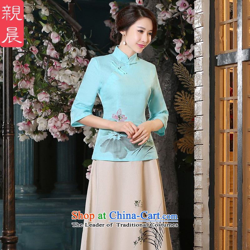 The new 2015 pro-am Fall/Winter Collections daily improved cotton linen Tang Dynasty Large qipao of ethnic Chinese women clothes +P0011 shirt skirt L