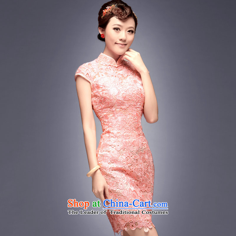 2015 Summer new short of Chinese Pink bridesmaid services services qipao marriage retro bows dress retro dresses dress pink燣 payment for about a week after shipment