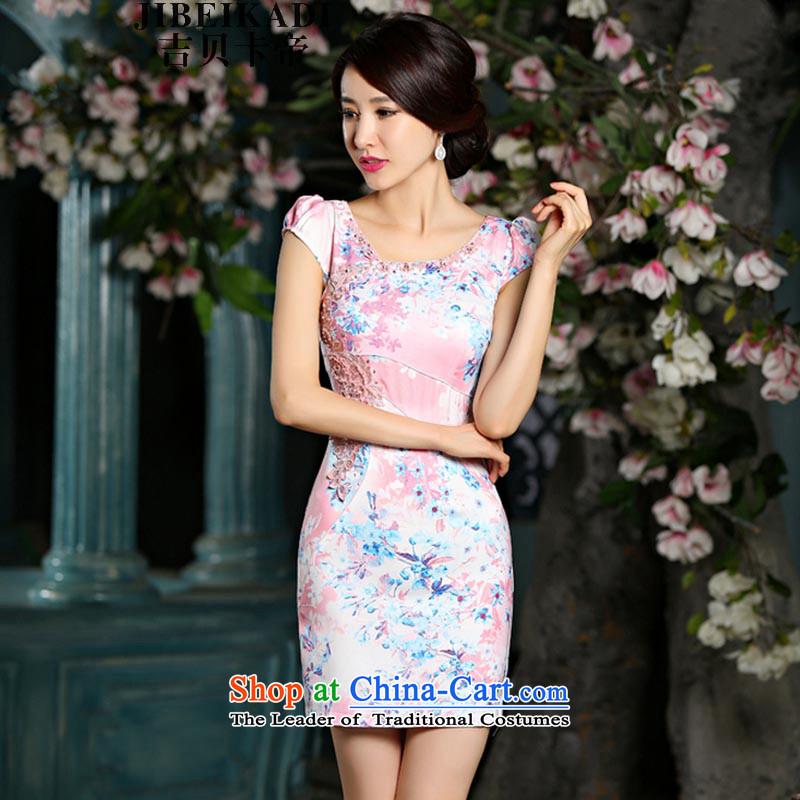 Gibez 9022# Dili new card for summer video thin cheongsam dress circle style qipao pink embroidered     improved?XL