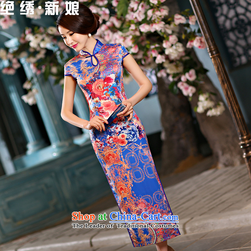 The vast?new bride embroidered 2015 daily cheongsam dress summer retro Sau San long skirt improved stylish qipao Ms.?QP1003 S