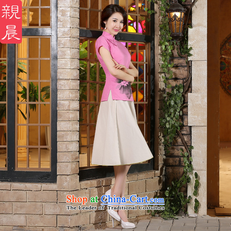 The pro-am a new summer for women cotton linen flax Ms. Han-chinese retro-to-day short-sleeved T-shirt shirt +P0011 improved cheongsam dress燲L