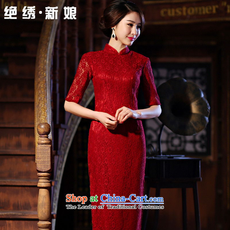 The vast new bride embroidered 2015 daily improved stylish lace cheongsam dress, summer long short-sleeved cheongsam dress red L