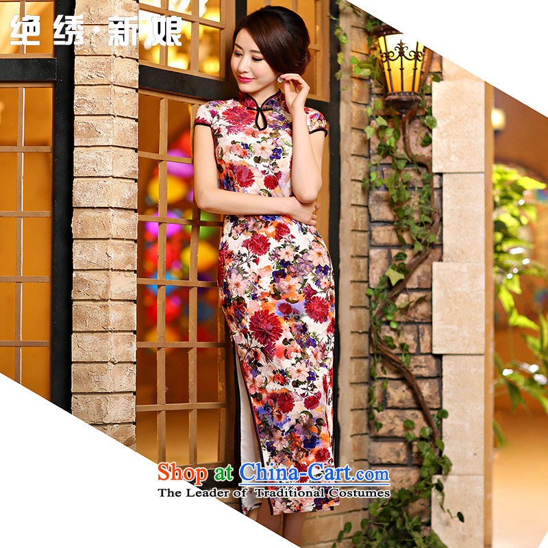 Embroidered is爊ew upscale bride 2015 velvet cheongsam dress spring and summer retro long of daily cheongsam dress improved燪P1006 stylish S