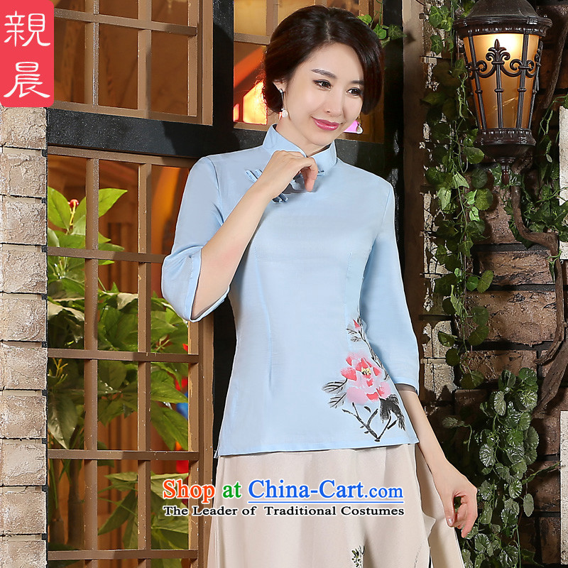 The pro-am new cheongsam shirt 2015 Fall_Winter Collections Improved Female Chinese Tang dynasty retro cotton Linen Dress Shirt +P0011 skirt?L