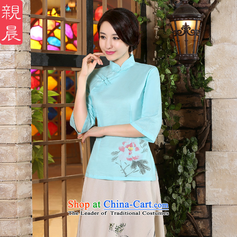 The pro-am Fall/Winter Collections new improved in 2015 daily long skirt in cuff kit linen cotton linen clothes shirt?2XL Cheongsam