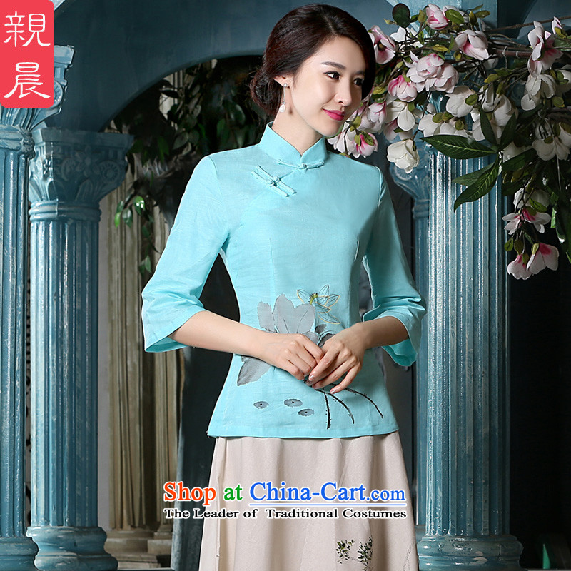The pro-am new daily qipao shirt for summer 2015 improved Tang Dynasty Chinese cotton linen dresses in female sleeved shirt?2XL