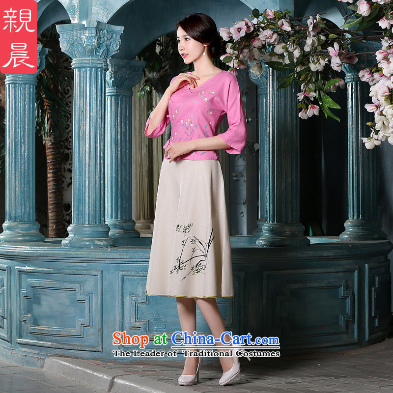The pro-am New Fall_Winter Collections in the day-to-day long piece of Sau San cotton linen dresses retro improved suits in Bihac sleeveless tops kit +P0011 skirts?M