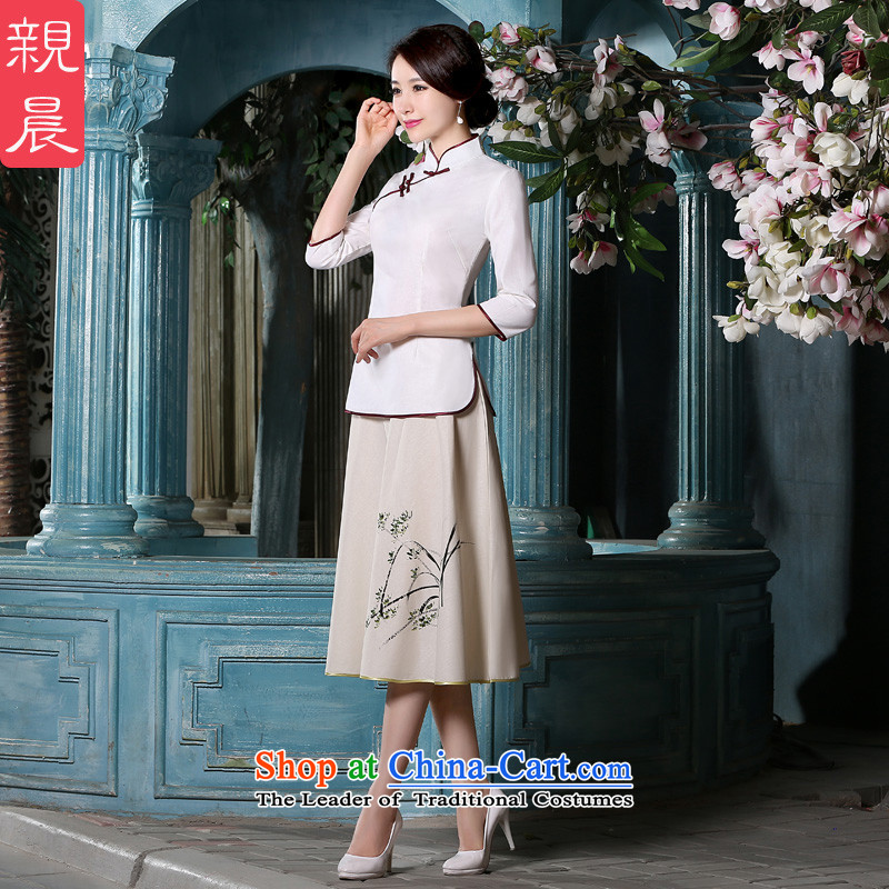 The pro-am new daily qipao shirt 2015 Fall/Winter Collections Of Chinese Tang Gown of nostalgia for the improvement of women's dresses in sleeved shirt +P0011 skirt?L