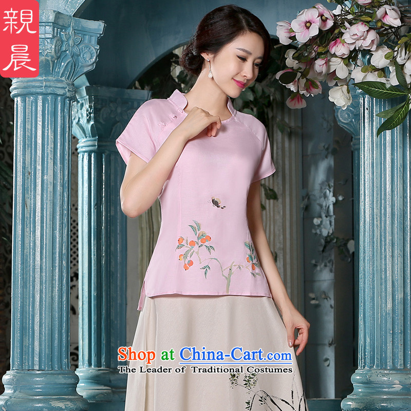 The pro-am new daily qipao shirt for summer 2015 improved stylish cotton linen cheongsam dress female Chinese Tang blouses + skirts燲L