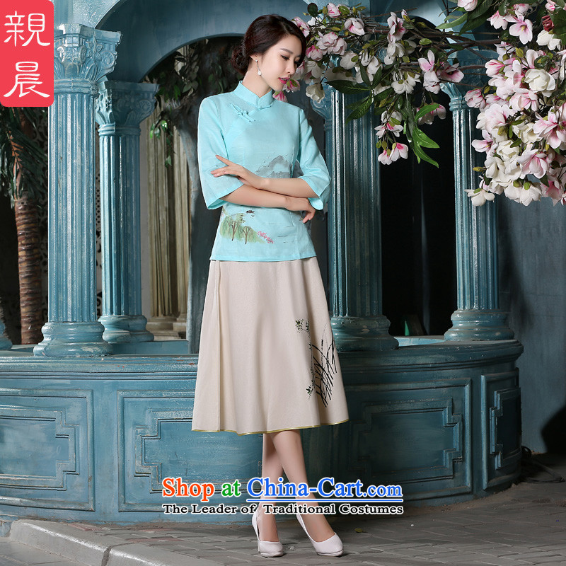 The pro-am autumn and winter load new products cotton linen flax daily improved Chinese Han-Tang dynasty cheongsam dress retro shirt female clothes +P0011 skirt燬