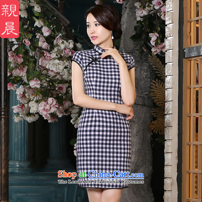 The pro-am new cotton linen cheongsam dress short summer 2015) Republic of Korea wind daily improved stylish cheongsam dress female blue on white,?2XL
