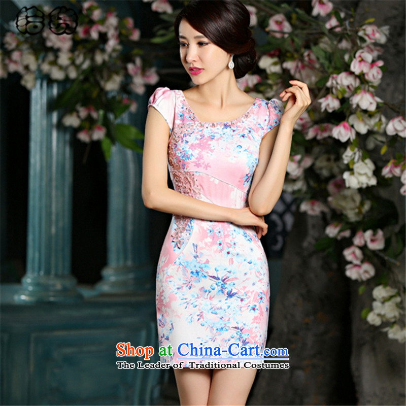 The 2015 summer, pickup improved jacquard water drilling qipao short-sleeved skinny fresh package video     and dresses, temperament Embroidery Stamp dress red Chinese?L