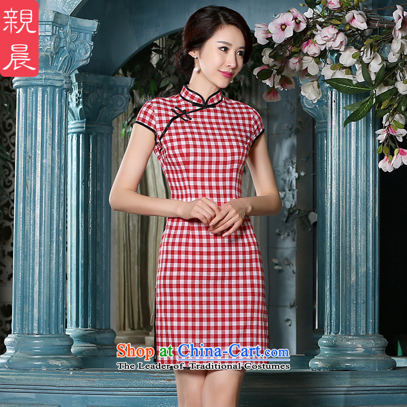 The pro-am new cotton linen dresses, 2015 summer short improvement of the Republic of Korea Air-to-day stylish Chinese cheongsam dress on WHITE, RED燤